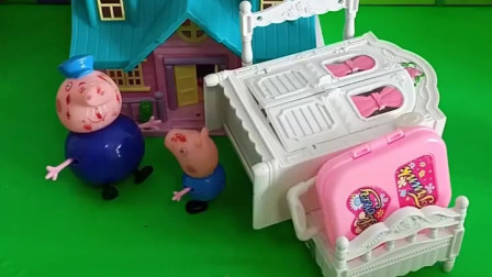 乔治太调皮他带着行李想住猪爷爷家可是他被猪爷爷嫌弃了