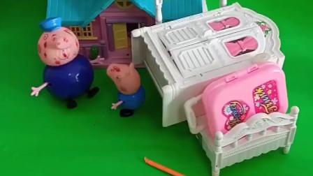 乔治带着东西来猪爷爷家猪爷爷以为乔治做错事了不让乔治进门
