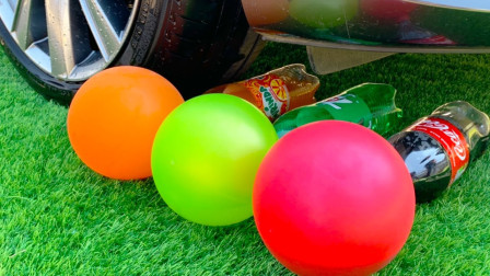 减压实验:牛人把饼干、玩具、饮料放在车轮下,好减压,勿模仿