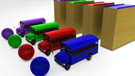 4辆校车开进颜色工厂被染成了彩色