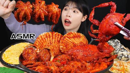 """大胃王极限挑战:""""变态辣""""海鲜,一口秒吞3只章鱼,辣得胃疼"""