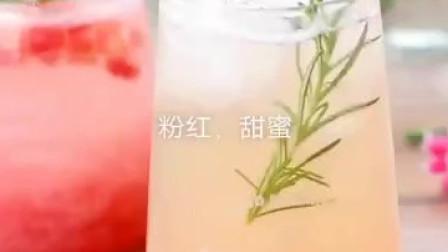 蜜桃酱+蜜桃气泡水+蜜桃乌龙茶,粉红甜蜜