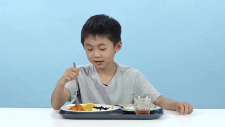 美国小孩子试吃各国学校营养午餐,表情各异