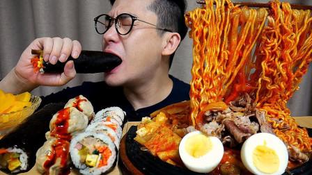 """韩国ASMR吃播:""""五花肉辣炒年糕+金枪鱼紫菜包饭+韩式饺子+香辣拉面"""""""