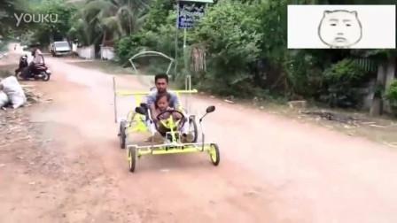 柬埔寨牛人自制敞篷车,宝马2系都达不到这效果,太清凉了!