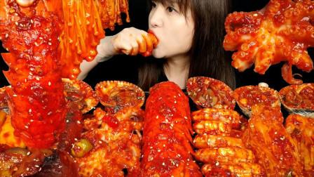 """韩国美女极限挑战:""""变态辣""""海鲜,连续大口"""