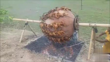 印度人民教你如何能一次性烤上百只鸡,这工具也就三哥想得出