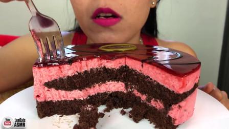 (甜品吃播)巧克力覆盆子慕斯蛋糕