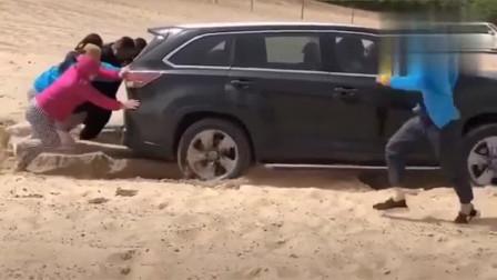 这就是四驱版汉兰达, 开进沙滩的那一刻, 才知道啥叫尴尬