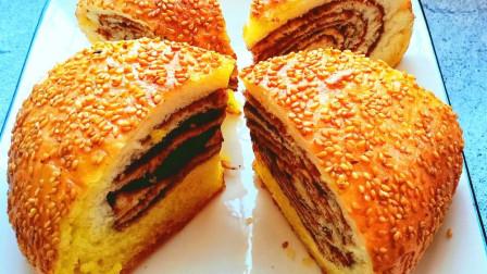 豆沙面包新做法,不用揉搓成面包膜,不加黄油,不用烤箱,好吃