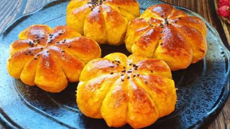 南瓜豆沙小餐包,有淡淡的奶香,有豆沙的香甜,比面包还好吃