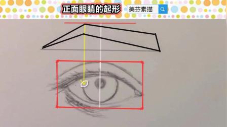 画素描人像,人物五官正面眼睛形体最简单的方法!