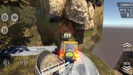 走走云游戏解说:卡车越野模拟驾驶,模拟运输,越野车拖一卡车钢丝卷爬上山顶