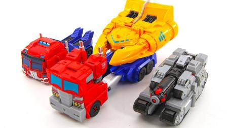 变形金刚塞伯志动画系列 天火套装擎天柱和威震天 机器人玩具开箱