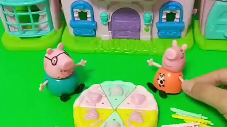 乔治过生日猪妈妈给他买了个大蛋糕,佩奇过生日猪妈妈都不记得,猪妈妈偏心