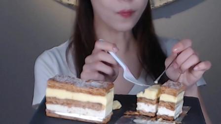 (甜品吃播)拿破仑千层蛋糕