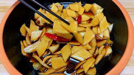 湖南特色美食脆萝卜皮做法,酸辣脆爽,今天泡明天就能吃