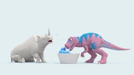 迷你特工队学英语:赛米和白马学红色,弗特暴走恐龙王