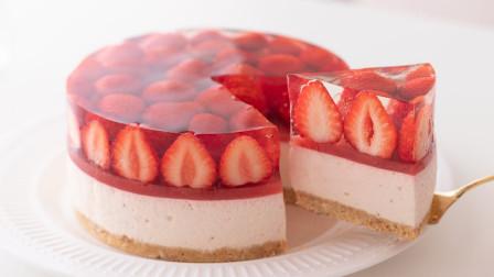 网红草莓布丁蛋糕制作全过程,赶快学起来!