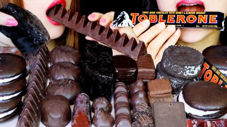 """韩国ASMR吃播:""""黑巧克力+黑果冻+巧克力棉花糖+冰淇淋三明治+饼干"""""""