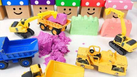 越看越搞笑,太空沙挖掘机还有这种神奇玩法?益智手工汽车玩具车