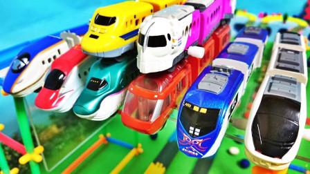 越看越精彩,超炫酷玩具火车速度大比拼,谁能最先到达终点?