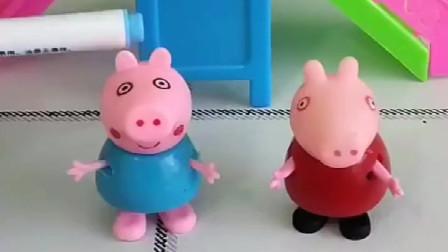 小猪乔治还不会写字,姐姐佩奇一笔一划地教弟弟,乔治终于学会啦