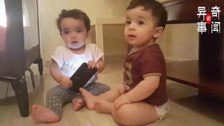"""双胞胎抢手机玩,弟弟抢不到就哭,网友:弟弟终究是个""""弟弟""""!"""