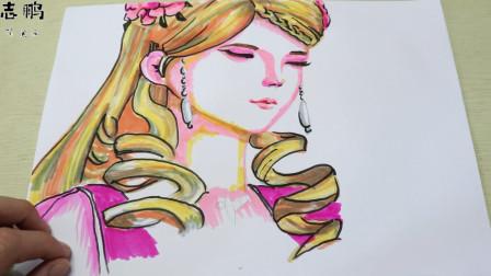 志鹏简笔画:教你们画叶罗丽灵公主,跟我一起画吧