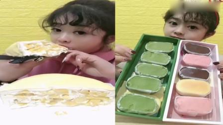 美女直播吃:千层蛋糕、半熟芝士,看起来很好吃的样子