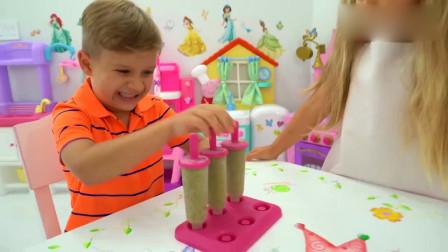 可爱萌娃:小小年纪就会做生意了,真是棒棒哒!萌娃:我的手艺不错吧?