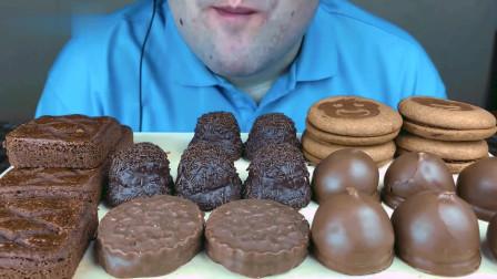 美食大鉴赏:俄罗斯小伙吃巧克力饼干,糖果,还有小蛋糕