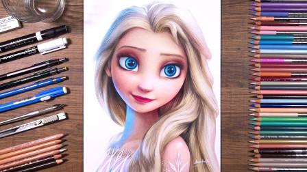 冰雪奇缘:冰雪女王漂亮的肖像画是怎么画出来的呢?真是好好奇!