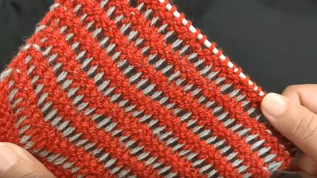 特别的花样最让人倾心,一款双色短拉丝针编织教程,好看又别致图解视频