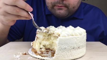 (甜品吃播)白奶油蛋糕 食音 咀嚼音