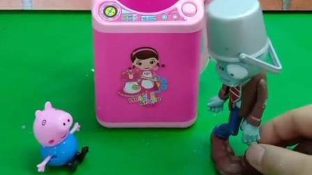 僵尸看到了很大的榨汁机,想用水果榨汁喝,可是果汁的味道怪怪的