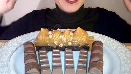(甜品吃播)巧克力焦糖蛋糕、巧克力块、巧克力华夫饼干 食音 咀嚼音