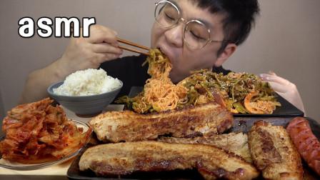 """韩国ASMR吃播 - """"烤五花肉+芹菜鱿鱼拌面+辣白菜+热狗+白米饭"""""""