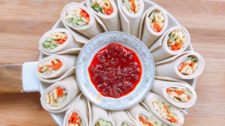 春天很受欢迎的千张蔬菜卷,做法简单,颜色丰富,低脂又美味