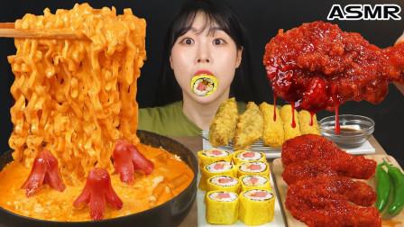 """韩国ASMR吃播:""""奶油培根炒年糕+调味炸鸡+鸡蛋紫菜包饭+炸青辣椒"""",听这咀嚼音,吃货欧尼吃得真馋人"""