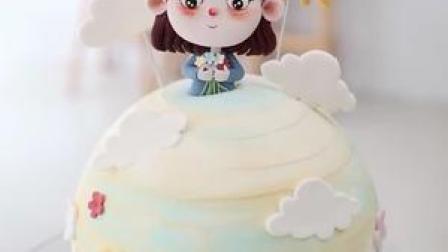 球形立体糖牌蛋糕圆滚滚超级可爱#蛋糕
