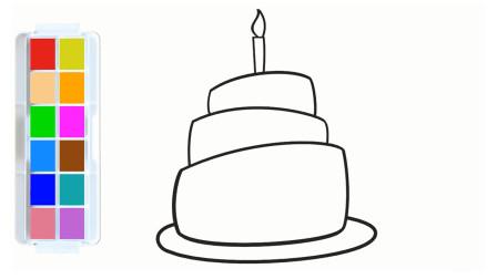 漂亮的蛋糕简笔画,轻松几步就能画好,涂上色彩鲜艳的颜色真好看