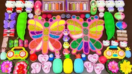 手工史莱姆教程,蝴蝶彩虹水晶泥+爱心彩泥+小花黏土,好玩好看超解压