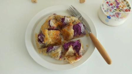 如何制作紫薯芝士肉松手抓饼?