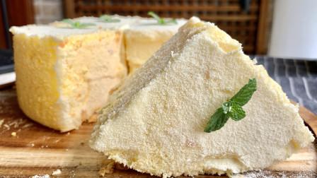 网红冰乳酪戚风蛋糕,配方手法详细分享,口感细腻不回缩