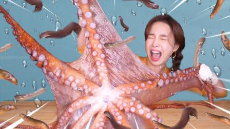 美女吃货大口吃章鱼,放入嘴里那一刻,口水都流出来了!