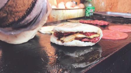 3块钱一份的里脊肉夹馍,有蛋有肉还有菜,每天卖出几百份