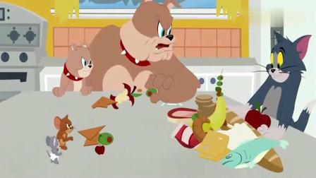 猫和老鼠:一猫一狗两只老鼠,一起分配食物,猫却太贪心了