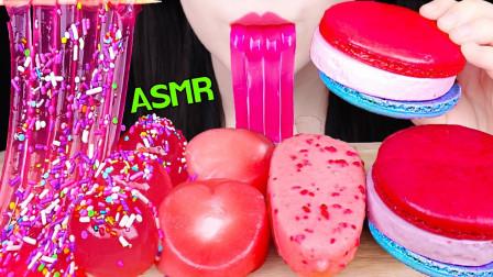 """韩国ASMR吃播:""""粉色果冻面条+马卡龙冰淇淋+草莓味糯米糕+果冻球"""",听这咀嚼音,吃货欧尼吃得真馋人"""