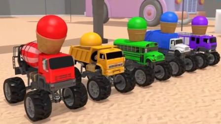汽车玩具视频:搅拌车 卡车消防车 环卫车和校车勇敢挑战游戏获得杯子蛋糕送给拖拉机.avi